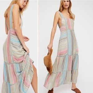Free People NWT Anika Striped Boho Maxi Dress 395